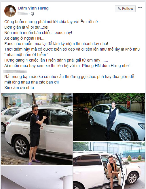 Đàm Vĩnh Hưng bán Lexus RX350 vì nhà thừa xe, khuyến khích fan nhanh tay mua làm kỷ niệm - Ảnh 1.