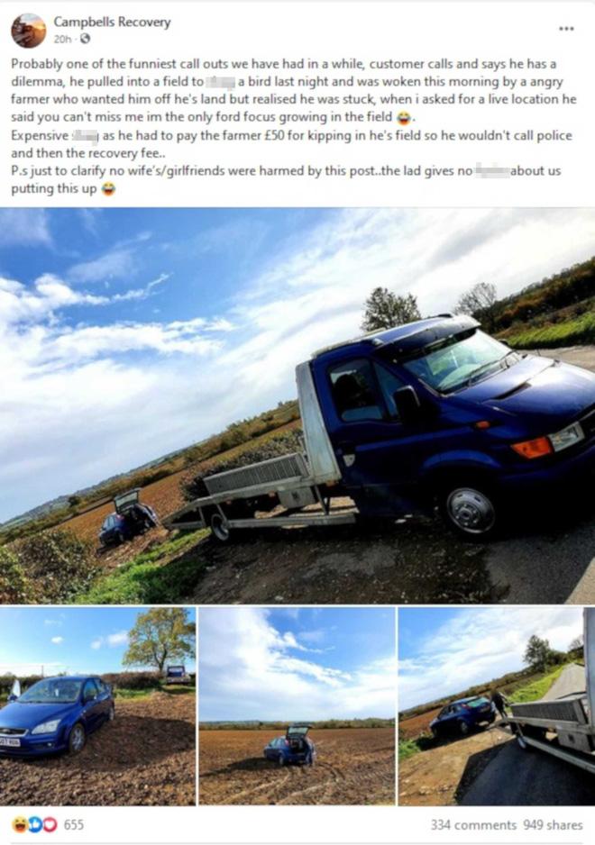 Bài đăng của Campbell Recovery cho thấy toàn cảnh giải cứu cặp đôi cùng chiếc xe Ford Focus của họ.