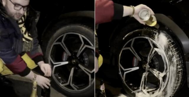 Rich kid rửa lốp Lamborghini bằng rượu vang thượng hạng xem chai nào giúp xe đi sướng hơn - Ảnh 2.