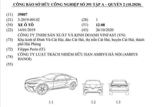 Bản đăng ký bản quyền kiểu dáng mẫu coupe của VinFast.