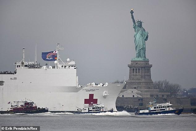 Góc bó tay: Người dân New York đổ xô ra đường xem tàu bệnh viện đến hỗ trợ chống COVID-19 - Ảnh 1.