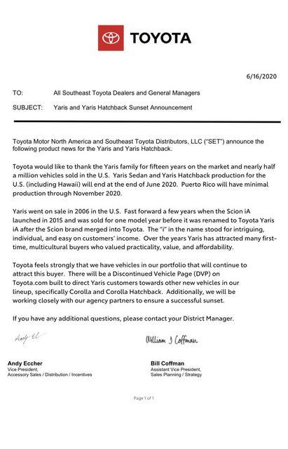 Toyota Yaris đột tử ở Bắc Mỹ - Ảnh 1.