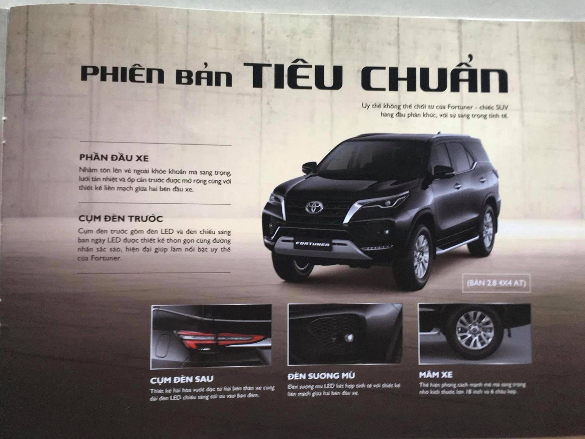 Bảng thông số kỹ thuật của Toyota Fortuner 2021 tại thị trường Việt Nam.