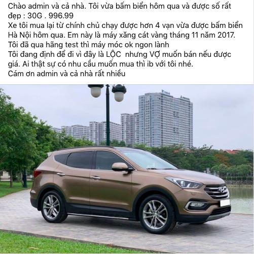 Bốc được biển 996.99 nhưng vợ muốn bán, chủ nhân Hyundai Santa Fe 2017 đành rao xe lộc giá 1,1 tỷ đồng - Ảnh 1.