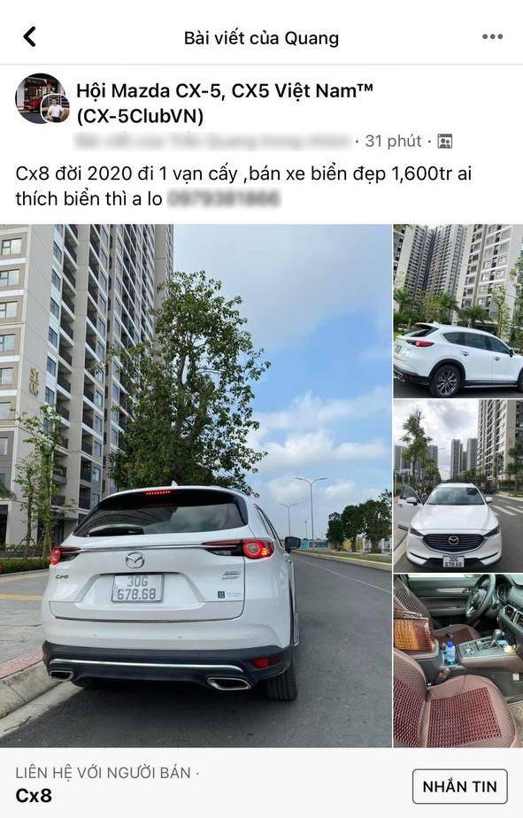 Bán Mazda CX-8 cũ nhưng 'biển đẹp' giá 1,6 tỷ, chủ xe được CĐM trả giá 800 triệu, chúc 10 năm sau bán được xe - Ảnh 1.