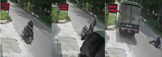 Suýt nghiền nát xe máy đi ngược chiều, tài xế không ngừng xin lỗi: 'Em buồn ngủ, em xin lỗi bác' - Ảnh 2.
