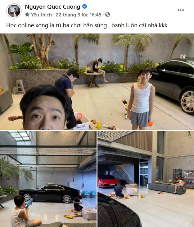 Cưng chiều con như bố bỉm Nguyễn Quốc Cường: Hết biến garage siêu xe thành khu vui chơi cho Suchin, giờ lại làm sân đánh trận giả cho Subeo - Ảnh 2.