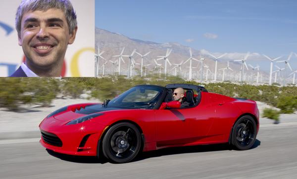 Giống như Brin, đồng sáng lập Google Larry Page cũng sở hữu một chiếc xe Tesla. Cả Brin và Page đều là cổ đông lớn của Tesla.