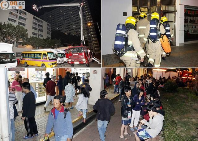 Người dân sống trong tòa nhà được sơ tán ra ngoài.