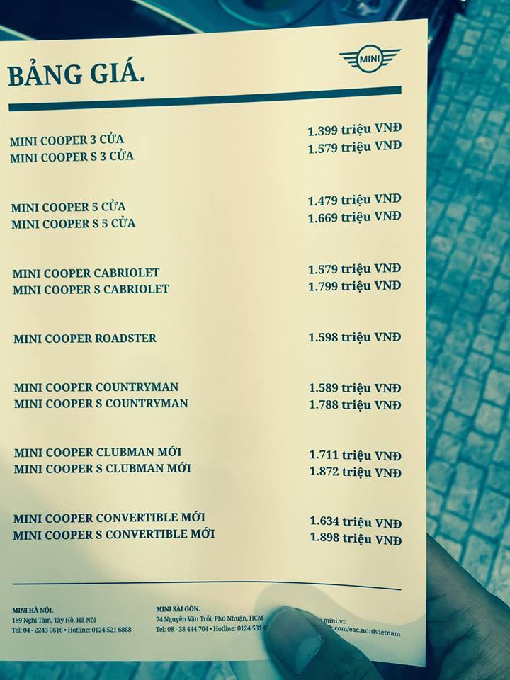Bảng giá các dòng xe của MINI tại thị trường Việt Nam. Trong đó, MINI Cooper Convertible có giá 1,634 tỷ Đồng với phiên bản tiêu chuẩn và 1,898 tỷ Đồng với phiên bản S.