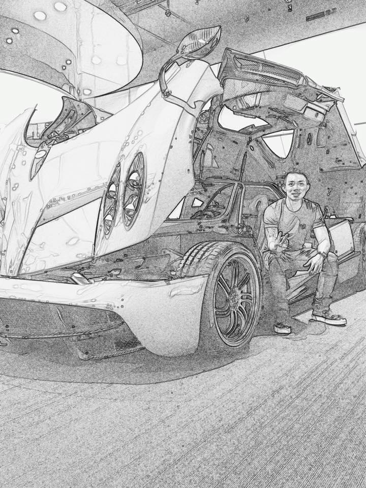 Hình ảnh được cho là Minh Nhựa chụp cùng Pagani Huayra được đăng lên Facebook. Ảnh: FBNV