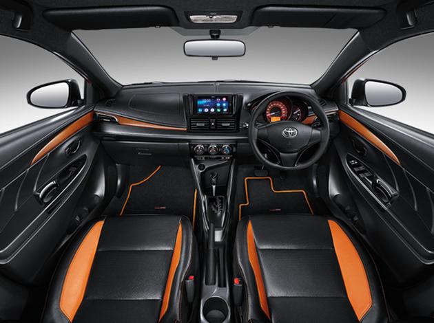 Hệ thống âm thanh cơ bản của Toyota Yaris tiêu chuẩn đã được thay bằng loại 2DIN với màn hình cảm ứng 7 inch, đầu đĩa DVD, CD, cổng Micro HDMI, thẻ nhớ SD và Bluetooth.