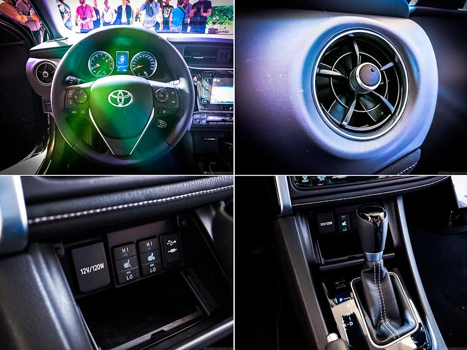 Xe được trang bị các nút chỉnh HVAC tái thiết kế với đèn chiếu sáng dễ quan sát hơn. Cửa gió điều hòa của Toyota Corolla 2017 được thiết kế hình tròn.