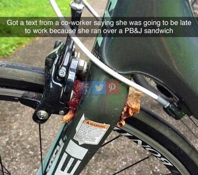 Đồng nghiệp gửi tin nhắn báo đi làm muộn vì xe đạp của cô ấy cán qua một chiếc bánh sandwich.