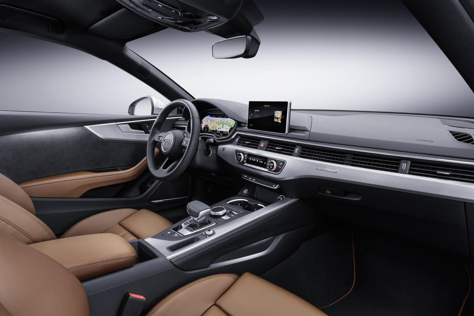 Bên trong Audi A5 thế hệ mới là không gian nội thất rộng rãi hơn nhờ chiều dài cơ sở tăng lên. Thiết kế bảng táp-lô giống với Audi A4 mới, đi kèm hệ thống đèn viền và màn hình buồng lái ảo tùy chọn. Hệ thống thông tin giải trí sử dụng màn hình 8,3 inch, chỉnh qua núm xoay/bấm đi kèm touchpad.