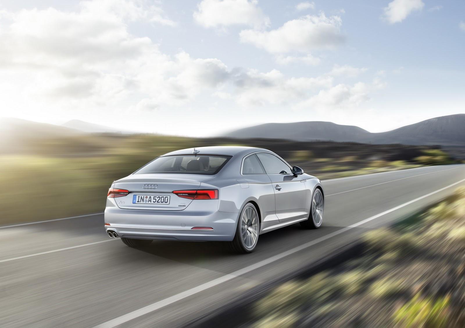 Về động cơ, Audi A5 2017 có 2 loại máy xăng và 3 loại máy dầu khác nhau. Trong đó, động cơ xăng và diesel tiêu chuẩn có dung tích 2.0 lít cùng công suất tối đa 187 mã lực. Tiếp đến là động cơ xăng 2.0 lít mạnh hơn với công suất tối đa 248 mã lực. Thứ tư là động cơ diesel V6 TDI, dung tích 3.0 lít với công suất tối đa 215 và 268 mã lực.