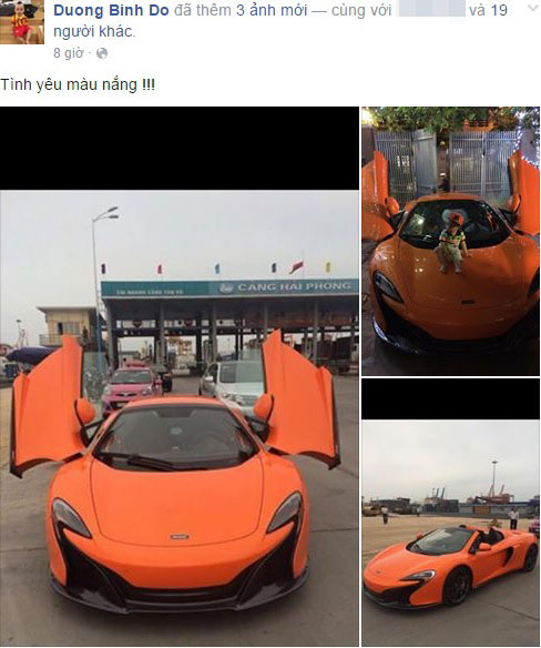 Chồng siêu mẫu Ngọc Thạch khoe siêu xe McLaren 650S Spider mới mua trên Facebook. Ảnh: FBNV