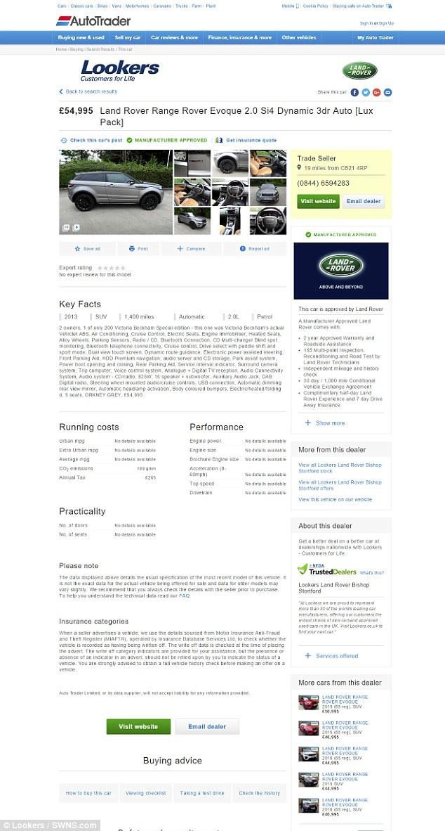 Thông tin rao bán chiếc Range Rover Evoque của Victoria Beckham xuất hiện trên Autotrader.