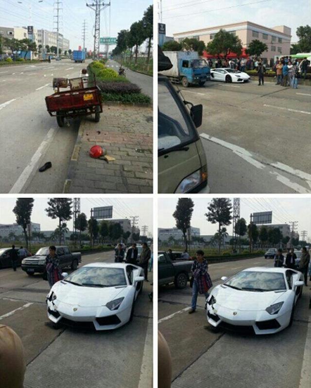 Một chiếc Lamborghini Aventador trong bộ áo trắng muốt gặp nạn vào tháng 1/2013.