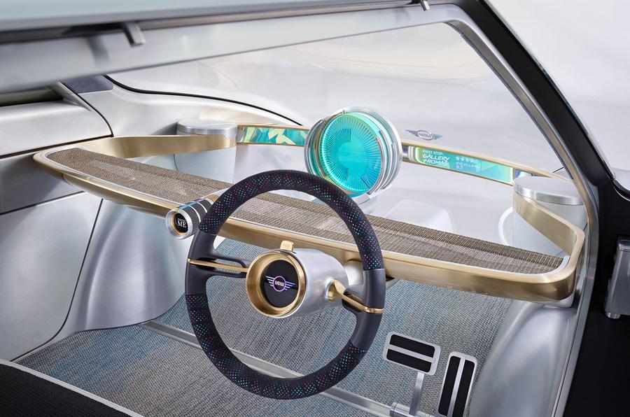 Nội thất đơn giản bên trong MINI Vision Next 100.