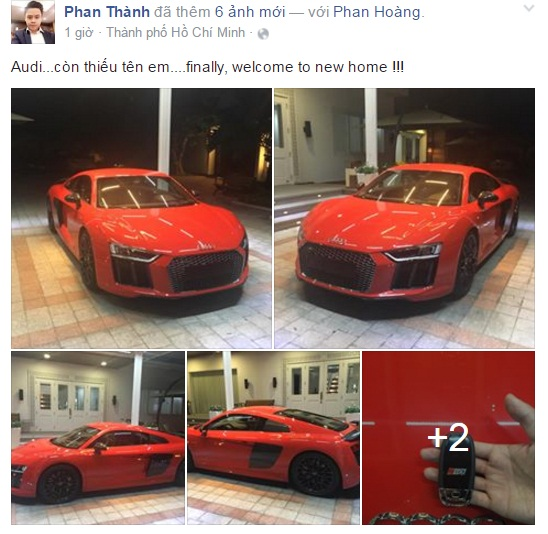 Phan Thành chia sẻ hình ảnh siêu xe Audi R8 V10 Plus lên trang cá nhân của mình. Ảnh chụp từ màn hình.