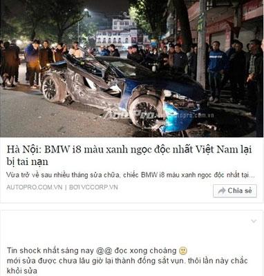 Cư dân mạng sốc với hình ảnh BMW i8 xanh ngọc gặp nạn lần thứ 2. Ảnh chụp màn hình