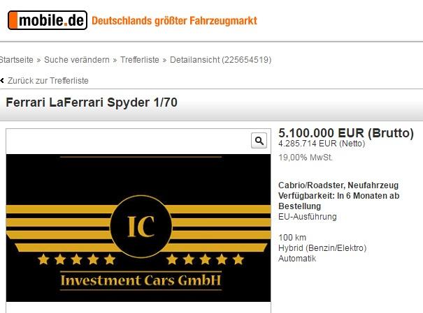 Đoạn quảng cáo rao bán siêu xe Ferrari LaFerrari Spyder của Investment Cars GmbH.