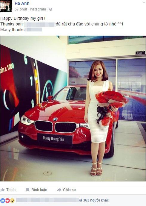 Hình ảnh Dương Hoàng Yến chụp bên chiếc BMW 3-Series màu đỏ rực được đăng lên Facebook. Ảnh chụp màn hình