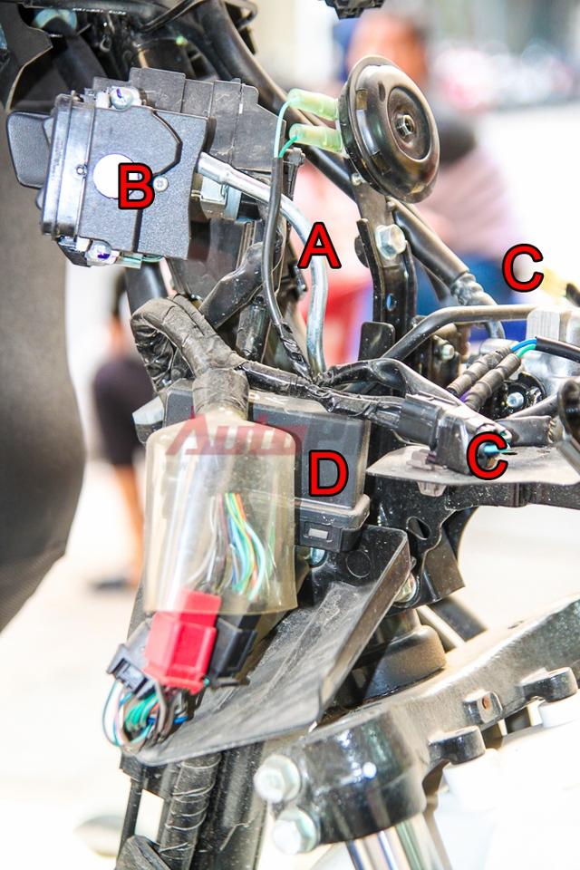 Các chi tiết ở cổ xe, nhìn từ hông. A: dây mở khóa yên, B: cụm khóa thông minh, C: giắc đèn xi-nhan và đèn định vị, D: ECU điều khiển. ECU (Engine Control Unit) có thể coi là bộ não của hệ thống smartkey trên SH 2015. Bộ phận này bị lỗi trên nhiều mẫu xe và mới được Honda triệu hồi để thay thế.