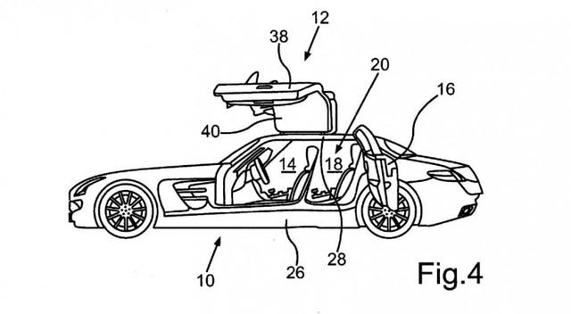 Bản thiết kế cửa cánh chim của siêu xe Mercedes-Benz SLS AMG.