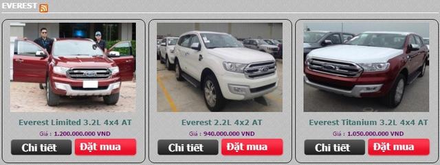 Một đại lý Ford tại Hà Nội đăng giá của Everest thế hệ mới.