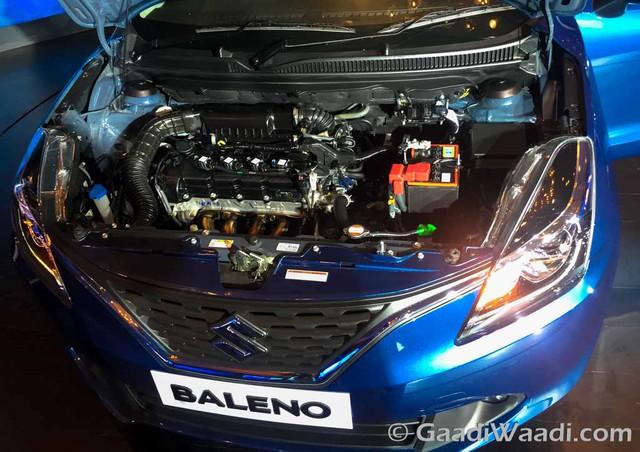 Tại thị trường Ấn Độ, Suzuki Baleno được cung cấp 2 loại động cơ khác nhau. Đầu tiên là động cơ xăng K-Series 4 xi-lanh, DOHC, dung tích 1,2 lít, sản sinh công suất tối đa 84,3 mã lực tại 6.000 vòng/phút và mô-men xoắn cực đại 115 Nm tại 4.000 vòng/phút. Động cơ kết hợp với hộp số sàn 5 cấp hoặc CVT, tiêu thụ lượng nhiên liệu trung bình 21,4 km/lít, tương đương 4,6 lít/100 km.