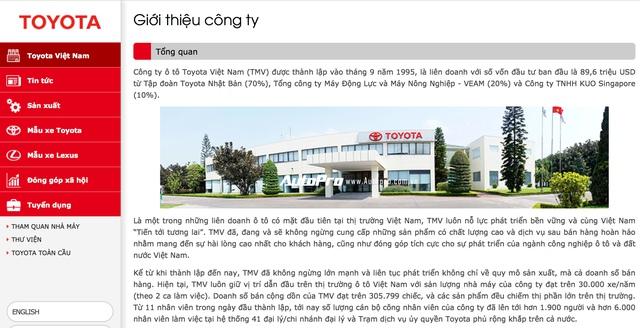 Lịch sử phát triển của Toyota tại Việt Nam đã có bề dày 20 năm.