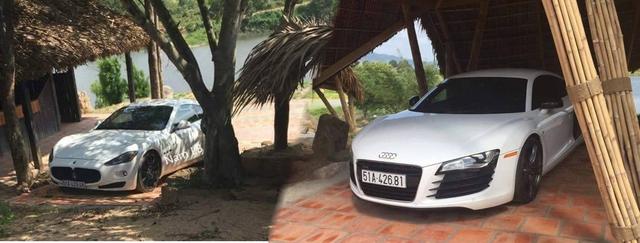 Cặp đôi Maserati GranTurismo và Audi R8 V8 màu trắng của ông chủ cà phê Trung Nguyên.