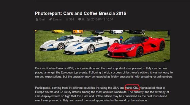 Bài viết của trang tin tổng hợp siêu xe đến từ Hà Lan có nhắc đến thủ đô Hà Nội.