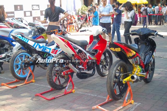 Dàn xe gắn máy với những cái tên nổi bật như Yamaha Exciter, Suzuki xì-po hay Suzuki Raider đều được độ lại ấn tượng phục vụ cho các bạn trẻ mê tốc độ.