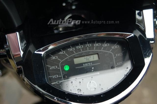 Đồng hồ analog hiển thị thông số tốc độ của xe, ngoài ra, ở giữa còn có một đồng hồ nhỏ đo quãng đường xe đi được.