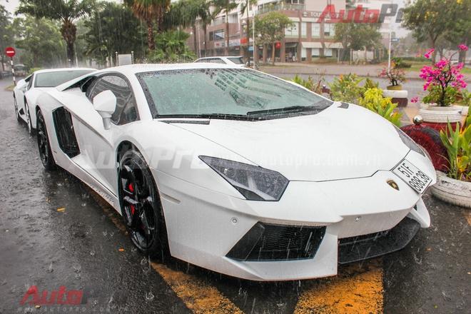 Xếp ngay sau cũng là một chiếc Aventador khác nhưng được mua chính hãng. Xe vừa ra biển số trắng tại TP. HCM. Đây được coi là lần đầu tiên chiếc xe này dạo chơi trên đường phố Sài Gòn.