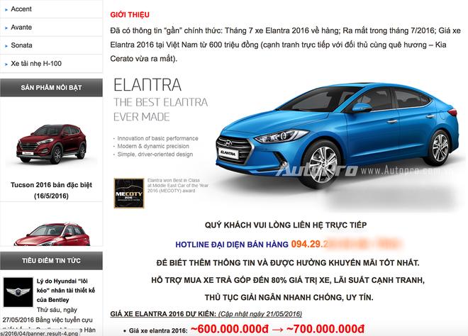 Thông tin từ website của một đại lý được cho là Hyundai chính hãng tại Việt Nam công bố thông tin Hyundai Elantra 2016 sắp được bán tại Việt Nam với giá từ 600 triệu đồng.