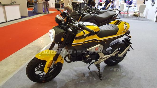 Gian hàng này cho trưng bày 7 mẫu mô tô phân khối lớn, trong đó nhiều người xem dễ dàng nhận ra thiết kế của những chiếc xe này đều nhái lại các dòng mô tô cao cấp như Ducati Scrambler, Honda MSX 125 hay Kawasaki Z1000.