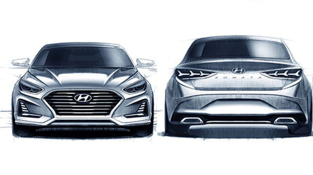 Sedan cỡ trung Hyundai Sonata 2018 lần đầu tiên hiện nguyên hình - Ảnh 2.