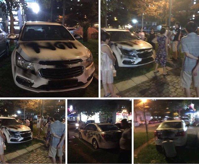 Sài Gòn: Đỗ dưới chung cư, Chevrolet Cruze bị xịt sơn đen khắp xe - Ảnh 1.