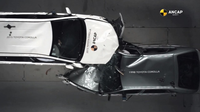Xem cảnh 2 chiếc Toyota Corolla đời 2015 và 1998 đâm trực diện ở 64 km/h