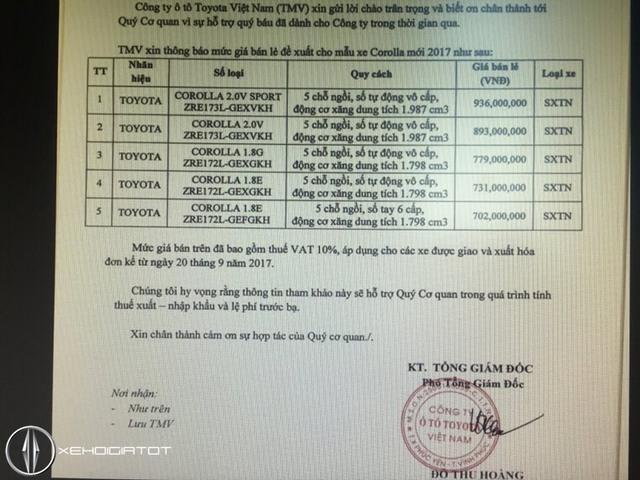 Toyota Corolla Altis 2017 giá từ 702 triệu Đồng sắp ra mắt tại Việt Nam - Ảnh 1.