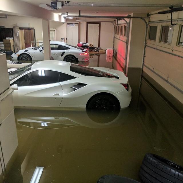 Cặp đôi Ferrari và Porsche tiền tỷ chết đuối trong gara sau bão Harvey - Ảnh 1.