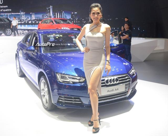 Á hậu Dương Tú Anh khoe nhan sắc lộng lẫy tại gian hàng Audi - Ảnh 1.
