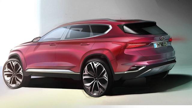 Hyundai Santa Fe thế hệ mới lần đầu lộ diện ảnh phác thảo - Ảnh 1.