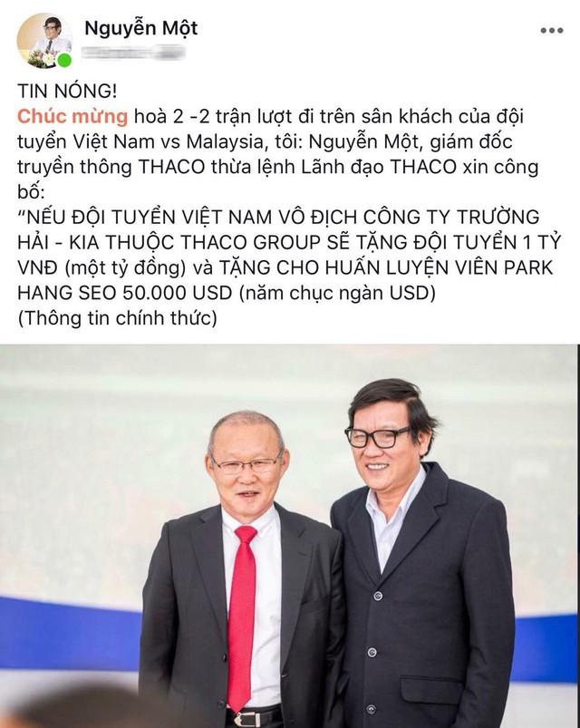 THACO hứa tặng 1 tỷ đồng cho đội bóng và 50.000 USD cho HLV Park Hang-seo nếu tuyển Việt Nam vô địch AFF Cup 2018 - Ảnh 1.