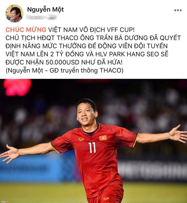 THACO nâng mức thưởng lên 2 tỷ đồng cho đội tuyển Việt Nam sau vô địch AFF Cup 2018 - Ảnh 1.