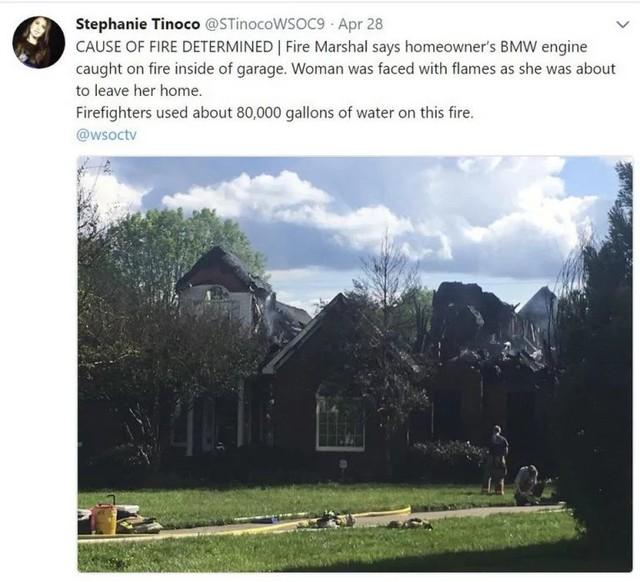 BMW đang đỗ tự nhiên bốc cháy, thiêu rụi cả ngôi nhà - Ảnh 1.